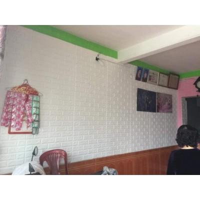 Beyaz Renk Tuğla Desen Silinebilir Kendinden Yapışkanlı 5,5 mm Esnek Sünger Duvar Paneli