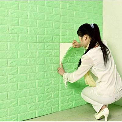 NW08 Yeşil Tuğla Desen Kendinden Yapışkanlı Tuğla Esnek Duvar Paneli Fiyatları