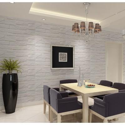 NW69 3D Beyaz Kırık Taş Mermer Desen Kendinden Yapışkanlı  Esnek Sünger Dekoratif Duvar Paneli