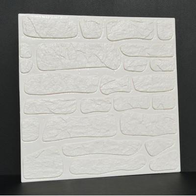NW72 3D Beyaz Kayrak Taş Desen Kendinden Yapışkanlı  Esnek Sünger Dekoratif Duvar Paneli