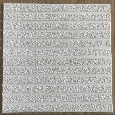 NW75 3D Beyaz Çizgili Sıva Taş Desen Kendinden Yapışkanlı  Esnek Sünger Dekoratif Duvar Paneli