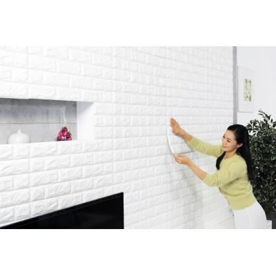 100X50 cm Beyaz Tuğla Desenli Kendinden Yapışkanlı Esnek Sünger Duvar Kaplama Paneli