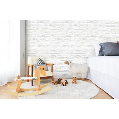 76x66x2 cm Beyaz Taş Desenli Kendinden Yapışkanlı Çıkart Yapıştır Esnek Sünger Duvar Kaplama Paneli