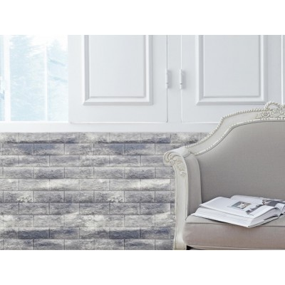 100X50 cm Gri Tuğla Desenli Kendinden Yapışkanlı Dekoratif Strafor Sünger Duvar Kaplama Paneli