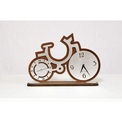 Dekoratif Saat Bisiklet Gümüş Varaklı