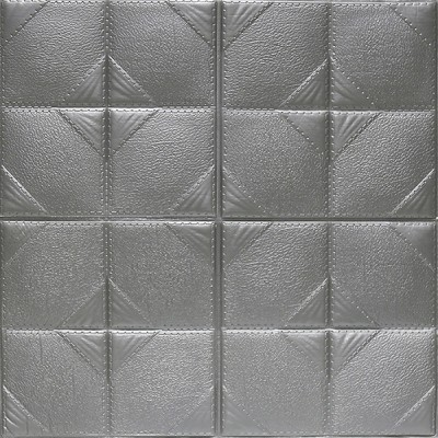 Kendinden Yapışkanlı Gri Esnek Tuğla Duvar Paneli Silinebilir 60x60 cm