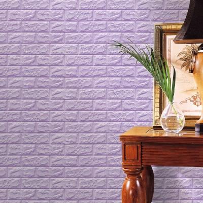 Kendinden Yapışkanlı Lila Esnek Yastık Tuğla Duvar Paneli Silinebilir 70x77 cm