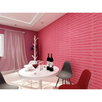 Kendinden Yapışkanlı Kırmızı Esnek Yastık Tuğla Duvar Paneli Silinebilir 70x77 cm