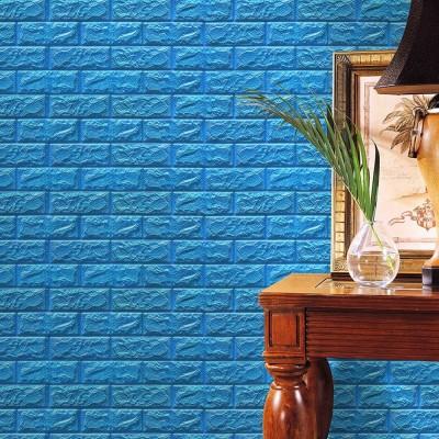 Kendinden Yapışkanlı Mavi Esnek Tuğla Duvar Paneli Silinebilir 70x77 cm