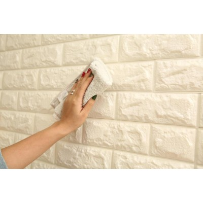 Kendinden Yapışkanlı Sünger Krem Tuğla Duvar Paneli 70x77 cm 6 Adet