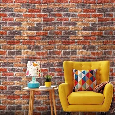 NW62 Kırmızı Siyah Sarı Tuğla Kendinden Yapışkanlı Duvar Paneli