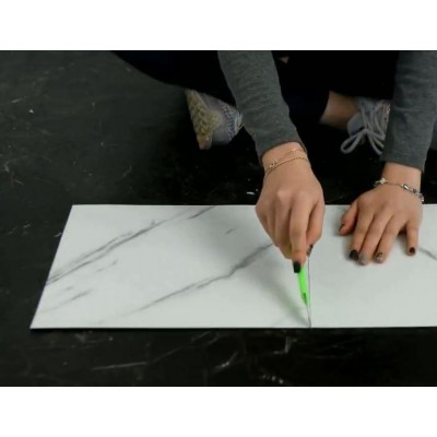 Yapışkanlı Beyaz Mermer Desen 6 Adet Zemin Yer Duvar Döşeme Paneli