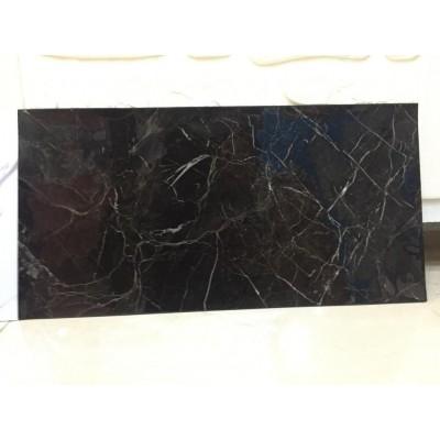 Yapışkanlı Siyah Mermer Desen 6 Adet Zemin Yer Duvar Döşeme Panel